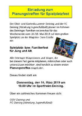 Einladung zum Planungstreffen für Spielplatzfest