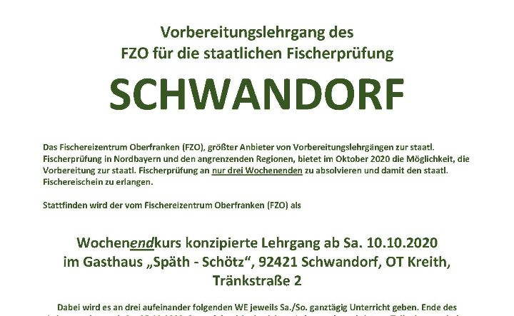 Bedarfsgerechte Ausbildung angehender Petrijünger 2020 in SCHWANDORF