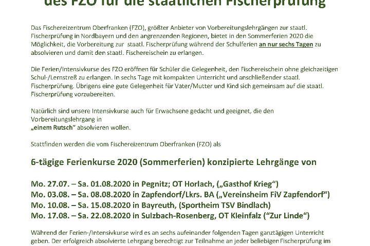 6-tägige Ferien-/Intensivkurse 2020 des FZO für die staatlichen Fischerprüfung