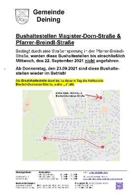 Bushaltestellen Magister Dorn-Straße & Pfarrer-Breindl-Straße